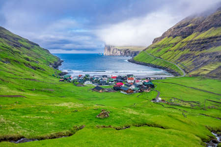 Spectacular colorful village on the inlet, the Faroe Islands