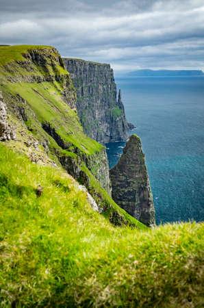 Sharp coastline, iconic rocks in Faroe Islands