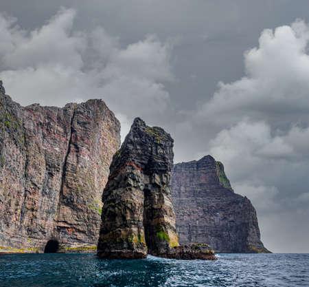 Awe rock formation in Faroe islands coastline
