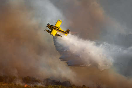 Spectacular hydroplane dropping water over the wild fire