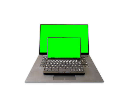Two laptops with green screens over white