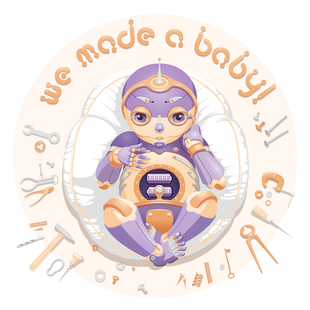 "Illustration of a baby robot lying on a pillow surrounded by tools and consumable parts with text ""We made a baby"". Baby robot for a postcard. Baby robot for an announcement of a pregnancy. Newborn robot for a mascot"