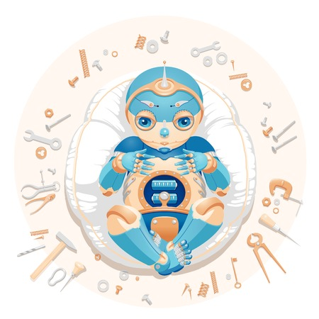 "Illustration of a baby robot lying on a pillow surrounded by tools and consumable parts with text ""We made a baby"". Baby robot for a postcard. Baby robot for an announcement of a pregnancy. Newborn robot for a mascot 向量圖像"