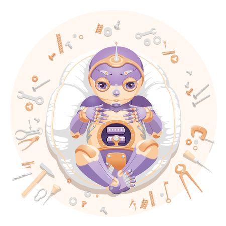 """Illustration of a baby robot lying on a pillow surrounded by tools and consumable parts with text """"We made a baby"""". Baby robot for a postcard. Baby robot for an announcement of a pregnancy. Newborn robot for a mascot 向量圖像"""