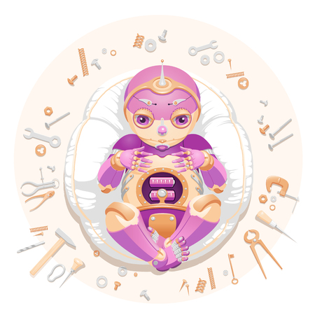 """Illustration of a baby robot lying on a pillow surrounded by tools and consumable parts with text """"We made a baby"""". Baby robot for a postcard. Baby robot for an announcement of a pregnancy. Newborn robot for a mascot"""