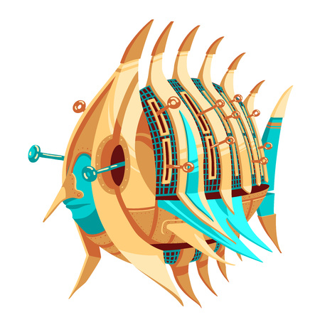 Illustration of robot-fish with yellow and turquoise metal parts and livers. Round fish robot with pointy finnish. Exotic metal fish for a mascot. Robot-fish for a logotype. Funky metal robot in the shape of a round fish. 向量圖像
