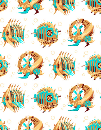 Pattern of two robot-fishes and a robot-turtle with yellow and turquoise metal parts and propellers. Exotic metal creatures swimming surrounded by bubbles. Swimming creature robots. 向量圖像