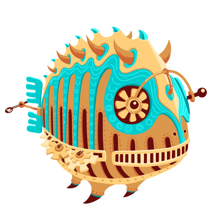 Illustration of a robot with yellow and turquoise metal parts and a propeller. Round hollow fish robot. Exotic metal fish for a mascot. Robot-fish for a logotype. Funky metal robot in the shape of a round fish.