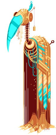 Illustration of robot with yellow and turquoise feathers and beak. Tall bird robot. Exotic bird for a mascot. Robot-bird for a logotype. Funky metal robot in the shape of a tall bird.