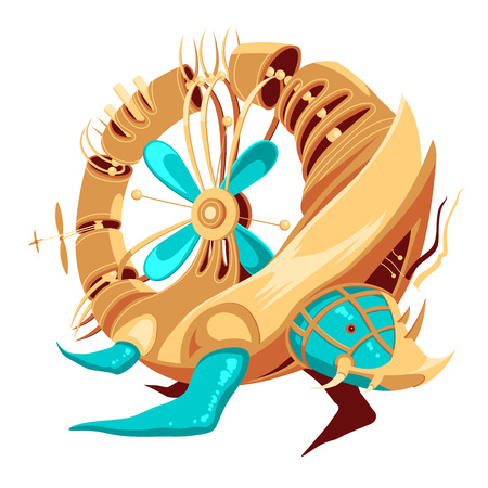 Illustration of a robot-turtle with yellow and turquoise metal parts and a propeller. Donut shaped hollow turtle robot. Exotic metal turtle for a mascot. Robot-turtle for a logotype. Funky metal hybrid or robot and turtle. 向量圖像