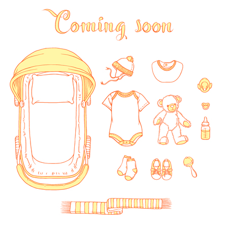 Illustration of baby items with text coming soon. Baby items for logo: stroller, babygro, baby bib, baby-shoes, hat. Illustrations of infant clothing and toys for a banner, a flyer or a business card.