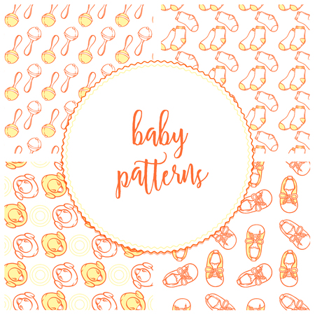 Illustration of baby shoes, rattler, yellow duck and socks in pattern. Baby items patterns for website bootee, socks. Infant clothing pattern for a banner, a flyer, a businesscard or a childbirth class.