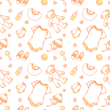 Illustration of baby related things in pattern. Baby items pattern for website babygro, bib, bootee, socks, scarf, teddybear. Infant clothing pattern for a banner, a flyer or a businesscard.