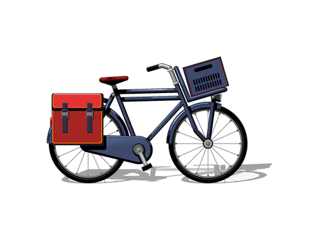 Urban family bike with bags and a basket flat vector. Urban bicycle, leasure and sport transport for family. Bicycle illustration for a logo or an icon. Bike drawing isolated on white background. City transport 向量圖像