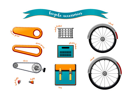 Urban family bike accessories flat vector set. Urban bicycle, leasure and sport transport for family. Bicycle parts for a logo or an icon. Bike parts isolated on white background. City transport
