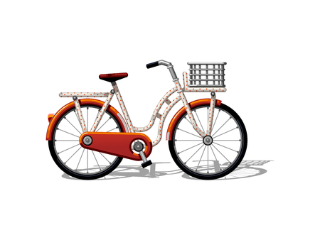 Urban family bike with basket and pattern flat vector. Urban bicycle, leasure and sport transport for family. Bicycle illustration for a logo or an icon. Bike drawing isolated on white background. City transport 向量圖像
