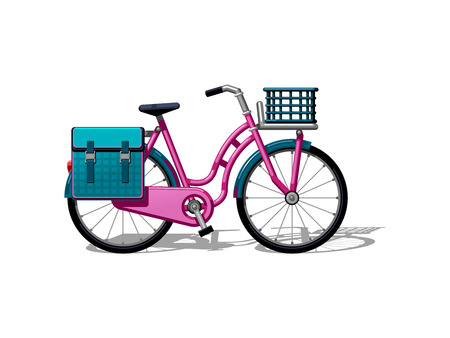 Urban family bike with bags and a basketflat vector. Urban bicycle, leasure and sport transport for family. Bicycle illustration for a logo or an icon. Bike drawing isolated on white background. City transport