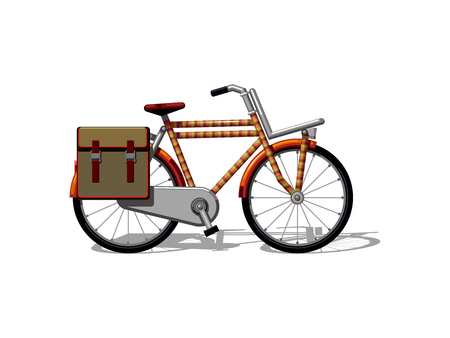 Urban family bike with bags flat vector. Urban bicycle, leasure and sport transport for family. Bicycle illustration for a logo or an icon. Bike drawing isolated on white background. City transport 向量圖像