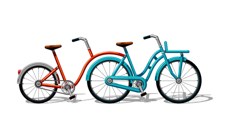 Urban family co-pilot tandem bike flat vector. Urban bicycle, leasure and sport transport for family. Bicycle illustration for a logo or an icon. Bike drawing isolated on white background. City transport