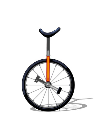 Urban family bike flat vector. Urban monocycle, leasure and sport transport for family. Monocycle illustration for a logo or an icon. Bike drawing isolated on white background. City transport for fun 向量圖像