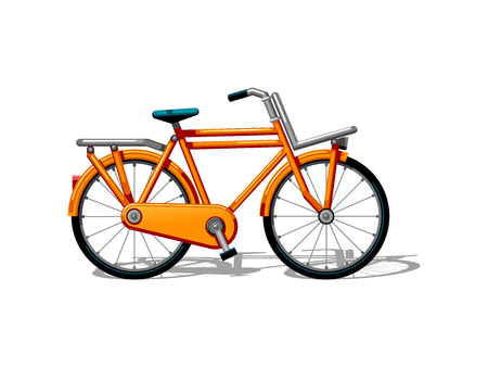 Urban family bike flat vector. Urban bicycle, leasure and sport transport for family. Bicycle illustration for a logo or an icon. Bike drawing isolated on white background. City transport