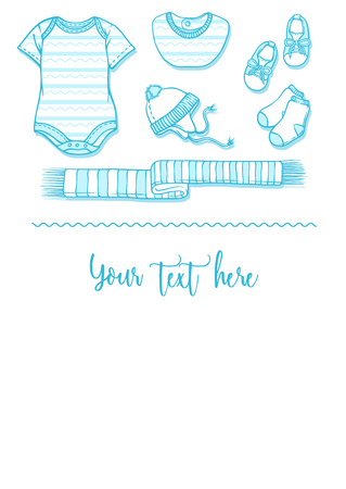 Illustration of baby items for a postcard. Baby items for logo babygro, bib, bootee, hat. Infant clothing and toys for a banner, a flyer or an announcement of pregnancy. Illustration
