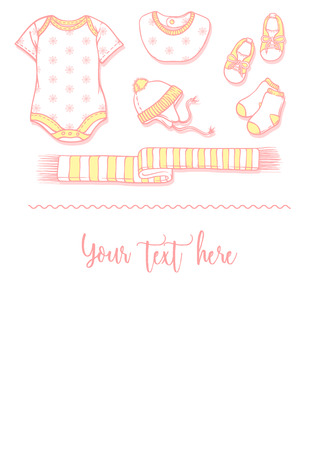 Illustration of baby items for a postcard. Baby items for logo babygro, bib, bootee, hat. Infant clothing and toys for a banner, a flyer or an announcement of pregnancy. Illusztráció