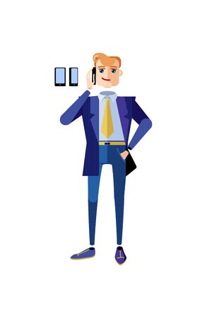 Businessman character in a blue office suite standing talking on the phone. Male character in a suit and a tie with a telephone in hands. Mascot for a business. Avatar for an office worker