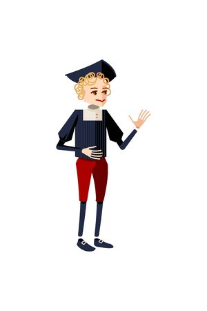 Erasmus character in a black old fasionned shirt and red pants standing talking. Male character in a sexteenth cetury suit and hat. Mascot, avatar of a guy with curly blond hair for animation 向量圖像