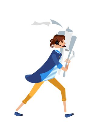 Manager character in a blue jacket running talking on the phone. Female character in a striped shirt and yellow pants with papers in hands. Mascot for a business. Avatar for an office worker