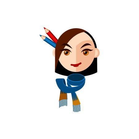 Girl character with brown eyes and brown straight hair. Female character face with blue scarf and pencils. Mascot for a creative woman. Avatar for a young woman. Face of lady designer looking forward