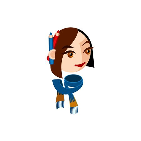 Girl character with brown eyes and brown straight hair. Female character face with blue scarf and pencils. Mascot for a creative woman. Avatar for a young woman. Face of lady designer looking sideways
