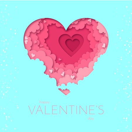 Paper heart with clouds illustration for Valentine s day. Vector illustration in paper cut style for cards, backgrounds, banners, posters, wallpapers, web and print designs for romantic occasions.