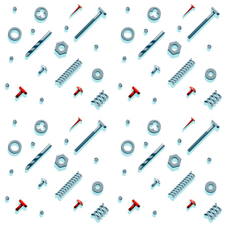 Vector illustration of the contents of a builder toolbox. Household tools arranged in a pattern. Tools of a handyman for business card, master class flyer, banner, web and print designs.