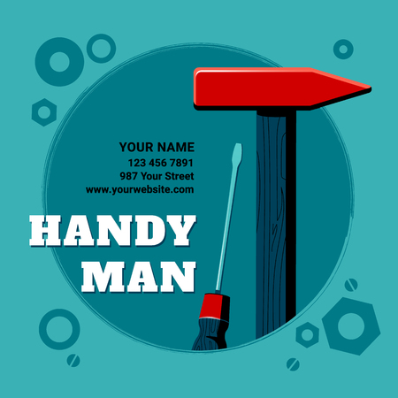 Vector illustration of the contents of a builder toolbox. Household tools arranged in a design composition. Tools of a handyman for business card, master class flyer, banner, web and print designs.