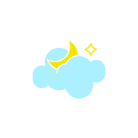 Vector weather icon of a blue cloud with moon and star to show the night forecast and the current climate outside for applications, widgets, and other meteorological designs. 向量圖像