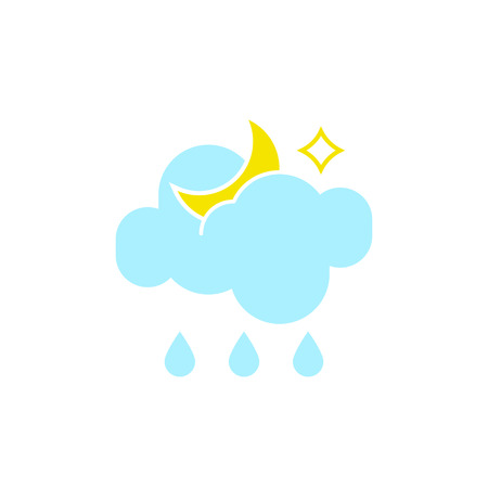 Vector weather icon of a blue cloud with raindrops and moon to show the rainy night forecast and the current climate outside for applications, widgets, and other meteorological designs.