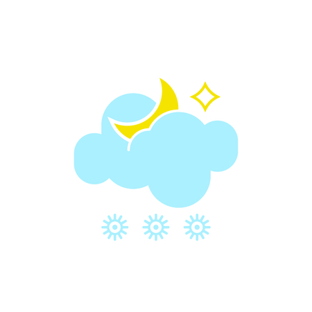 Vector weather icon of a blue cloud with snowflakes and moon to show the snowy night forecast and the current climate outside for applications, widgets, and other meteorological designs.