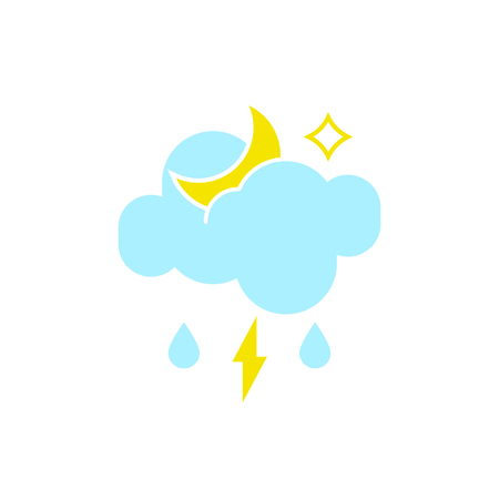 Vector weather icon of a blue cloud with lightning, moon and drops to show the stormy night forecast and the current climate outside for applications, widgets, and other meteorological designs. 向量圖像
