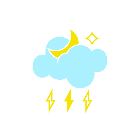 Vector weather icon of a blue cloud with lightning and moon to show the stormy night forecast and the current climate outside for applications, widgets, and other meteorological designs.