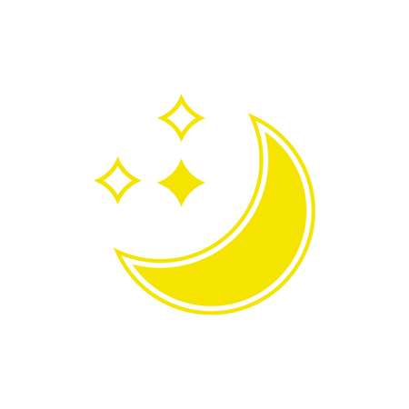 Vector weather icon of moon with stars to show the clear night forecast and the current climate outside for applications, widgets, and other meteorological designs.