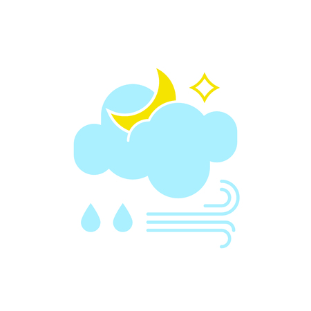 Vector weather icon of a blue cloud with moon, raindrops and wind to show the rainy windy forecast and the current climate outside at night for applications, widgets, and other meteorological designs.