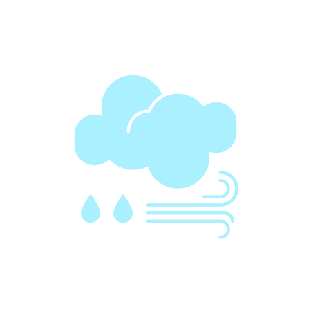 Vector weather icon of a blue cloud with raindrops and wind to show the rainy forecast and the current climate outside for applications, widgets, and other meteorological designs. 向量圖像