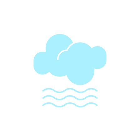 Vector weather icon of a blue cloud with fog to show the misty forecast and the current climate outside for applications, widgets, and other meteorological designs. Çizim