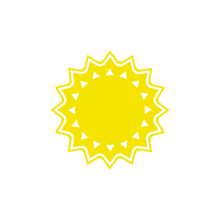 Vector weather icon of sun to show the sunny warm forecast and the current climate outside for applications, widgets, and other meteorological designs.