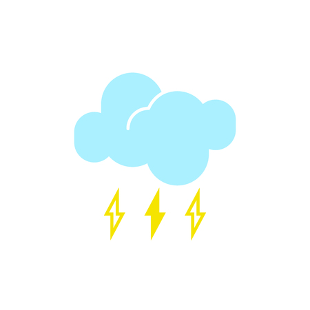 Vector weather icon of a blue cloud with raindrops and lightning to show the stormy forecast and the current climate outside for applications, widgets, and other meteorological designs.