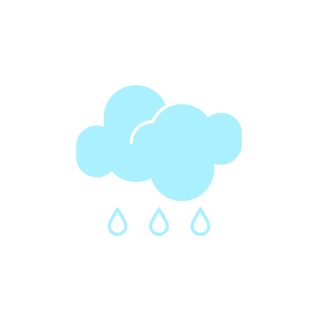 Vector weather icon of a blue cloud with raindrops to show the rainy forecast and the current climate outside for applications, widgets, and other meteorological designs.