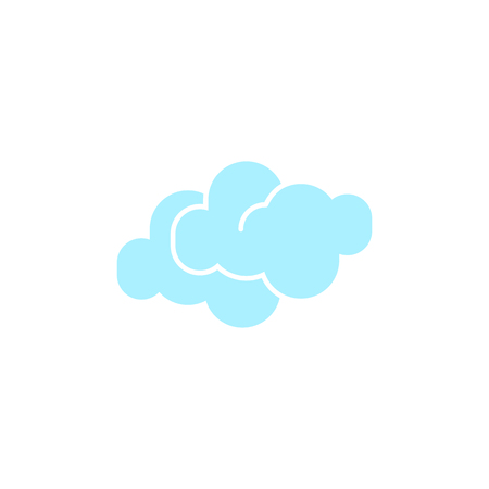 Vector weather icon of two blue clouds to show the cloudy forecast and the current climate outside for applications, widgets, and other meteorological designs.