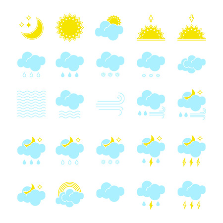 Big set of vector weather icons to show the forecast and the current clear, misty, cloudy, windy and foggy climate outside during the day and the night time for applications, widgets, and other design