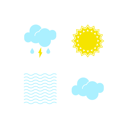 Basic set of essential weather icons in vector to show the forecast and the clear, misty and cloudy climate outside during the daytime for applications, widgets, and other meteorological designs.